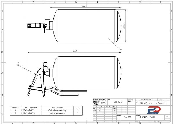 PD Extinguishers engineering drawing