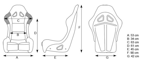 GP Race Pro Rally Seat Dimensions